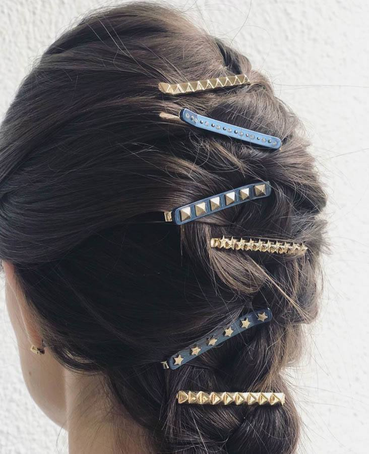 DARK Crystal Bobby Pins Stone Blue 2pcs
