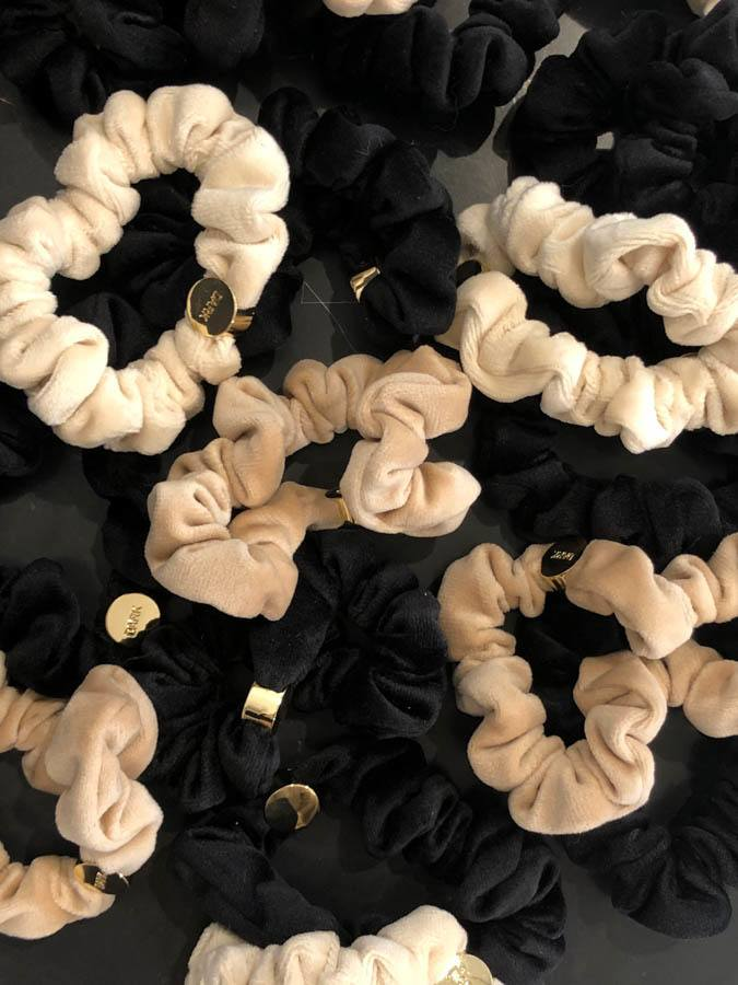 DARK Velvet Mini Scrunchie Sand