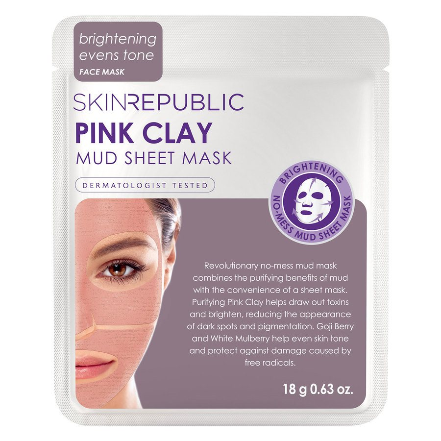 Skin Republic Pink Clay Mud Sheet Face Mask 18g
