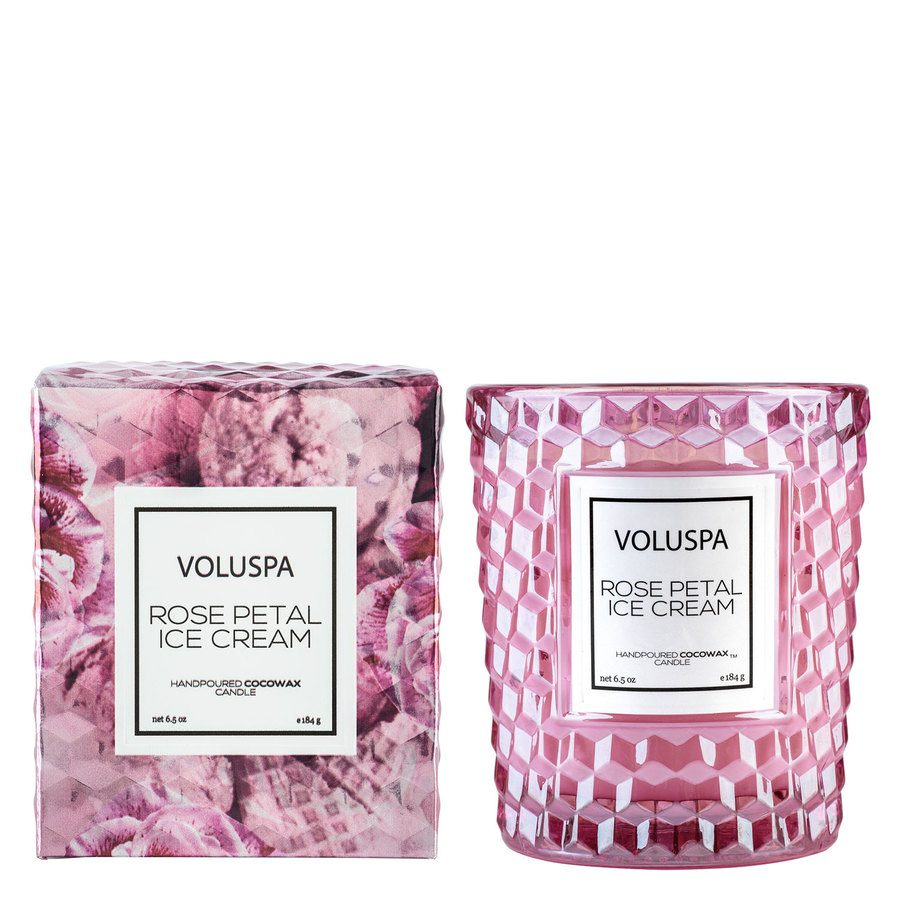 Voluspa Boxed Textured Glass Candle Rose Petal Ice Cream 184g