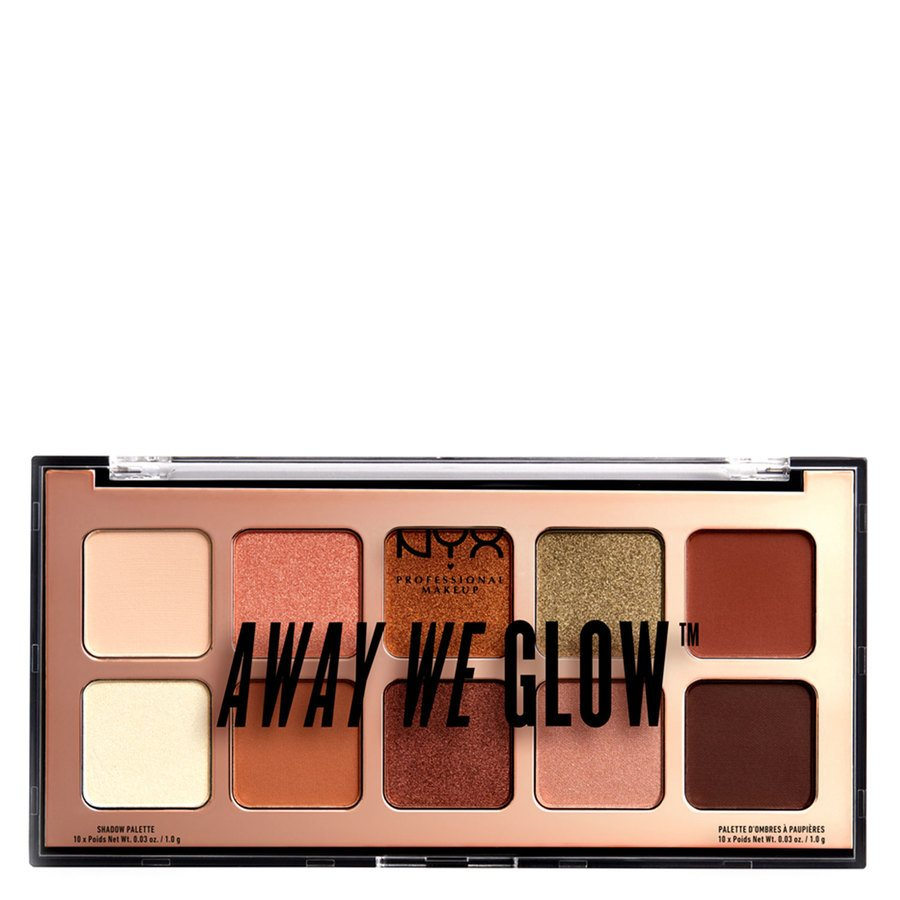 NYX Professional Makeup Away We Glow Eyeshadow Shade Palette 02 Hooked On Glow 10x1g