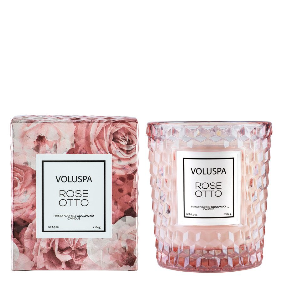 Voluspa Boxed Textured Glass Candle Rose Otto 184g