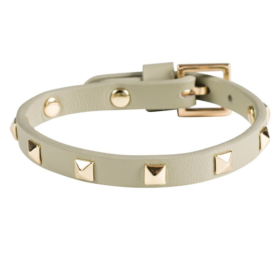 DARK Leather Stud Bracelet Mini Faded Army With Gold