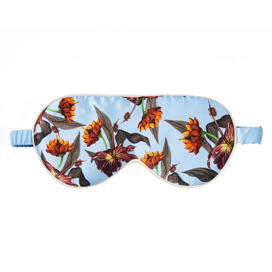 Fan Palm Sleeping Eye Mask Silk Blue Hibiscus 20x10cm