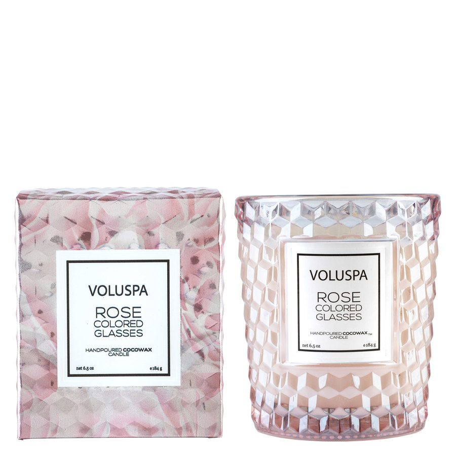Voluspa Boxed Textured Glass Candle Rose Colored Glasses 184g