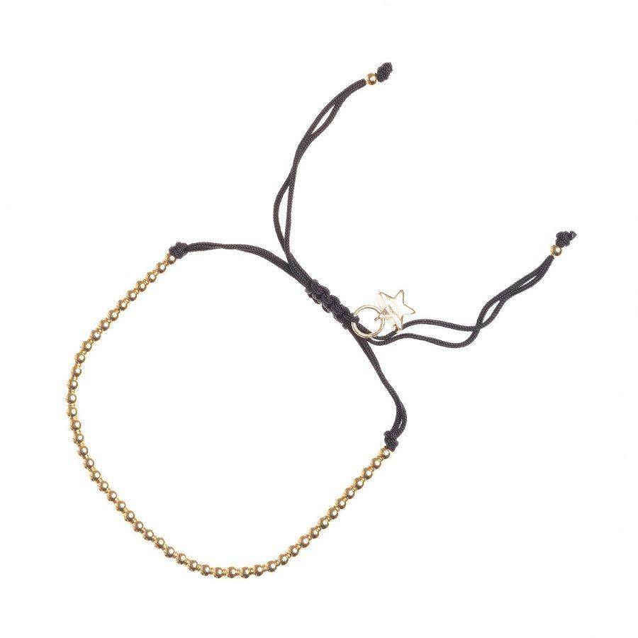 DARK Metal Bead Bracelet Thin Black