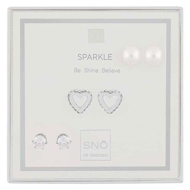 Snö Of Sweden Valentine Sparkle Earring Set Silver/Clear