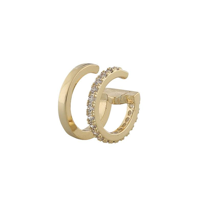 Snö Of Sweden Hanni Double Cuff Earring Gold/Clear 13mm