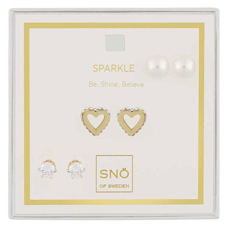 Snö Of Sweden Valentine Sparkle Earring Set Gold/Clear
