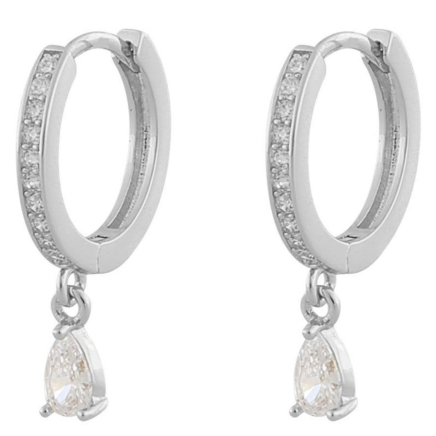 Snö Of Sweden Camille Drop Ring Earring Silver/Clear