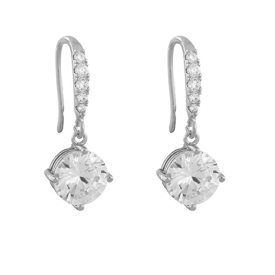 Snö Of Sweden Luire Stone Pendant Earring Silver/Clear 23mm