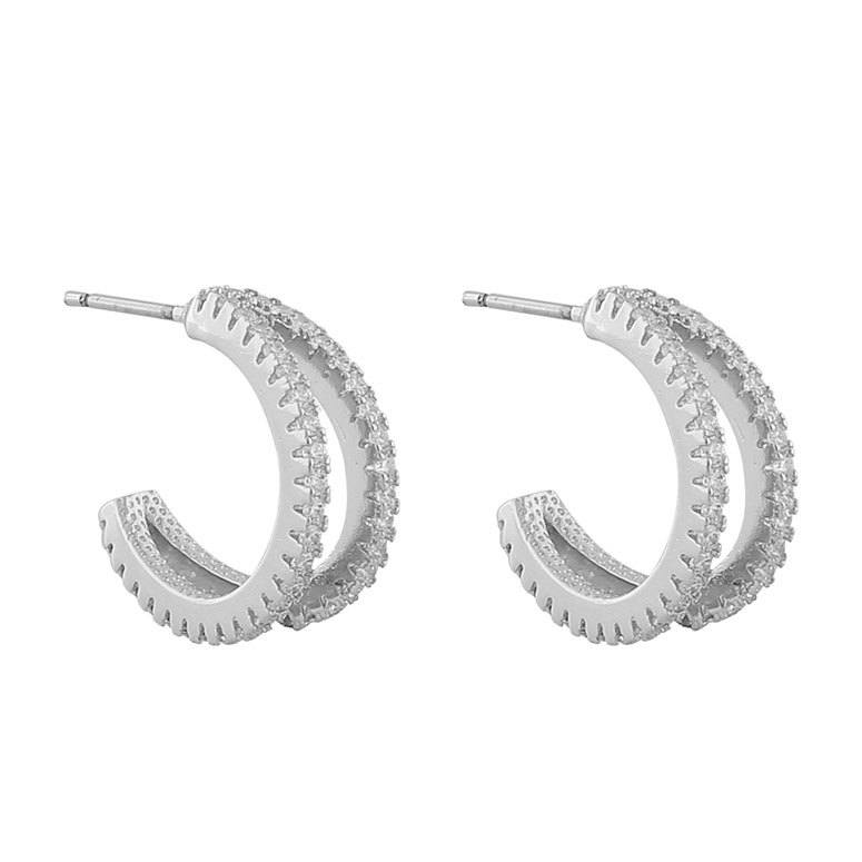 Snö Of Sweden Hanni Double Ring Earring Silver/Clear 16mm