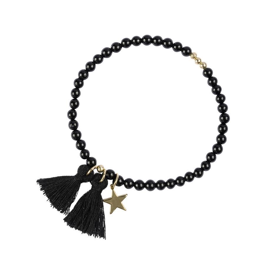 DARK Stone Bead Bracelet Shiny Black 4mm