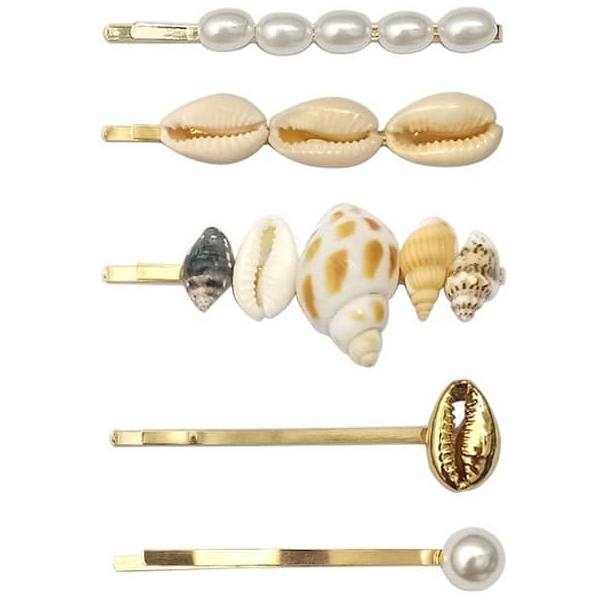 Just D'Lux Hairpin seashell 03 Gold and Pearls