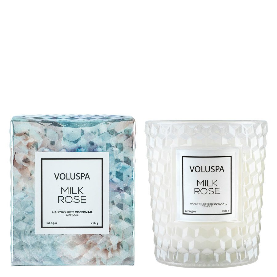 Voluspa Boxed Textured Glass Candle Milk Rose 184g