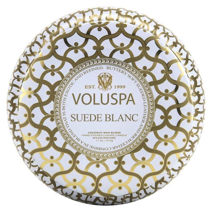 Voluspa 2-Wick Maison Metallo Candle Suede Blanc 312g