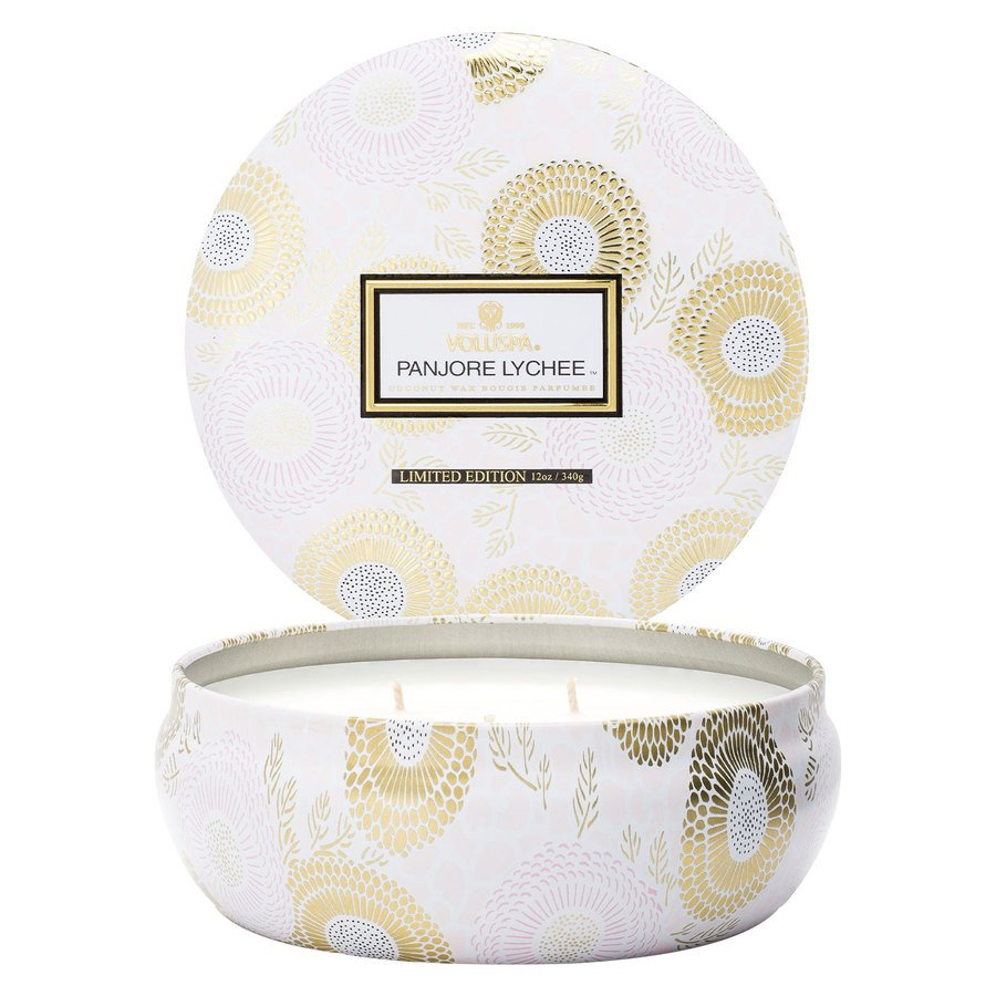 Voluspa 3 Wick Candle In Decorative Tin Panjore Lychee 340g