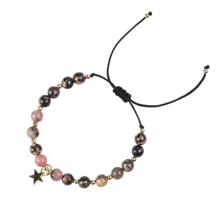 DARK Stone Bead Bracelet Rose & Blacks 6mm