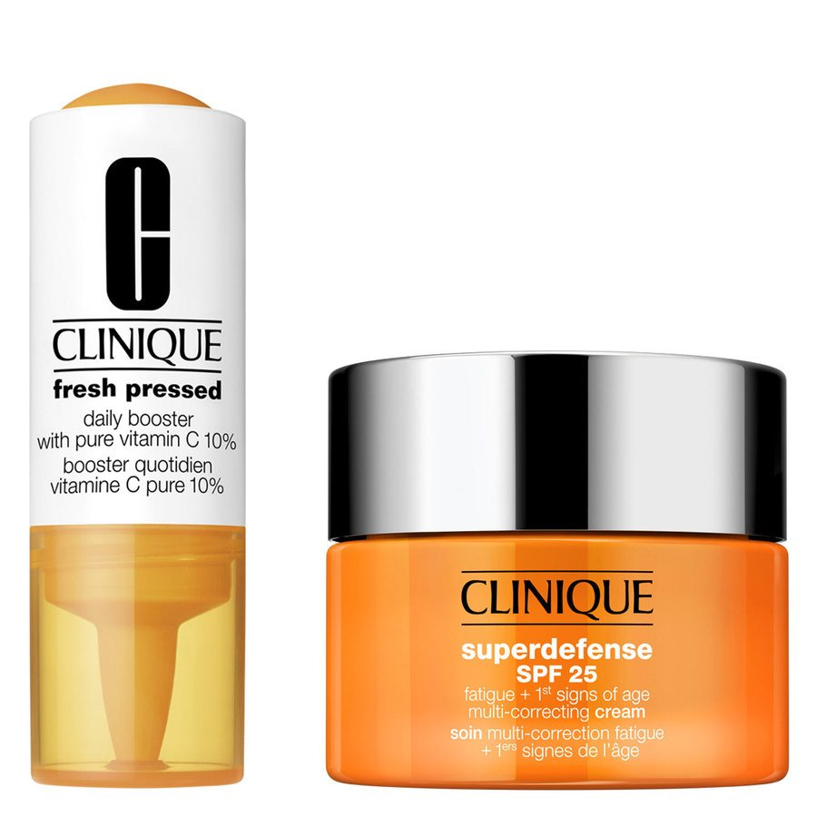 Clinique Fresh Pressed 7-Day Recharge System: Booster With Vitamin C 10% + Superdefense Cream Skin Type 1+2