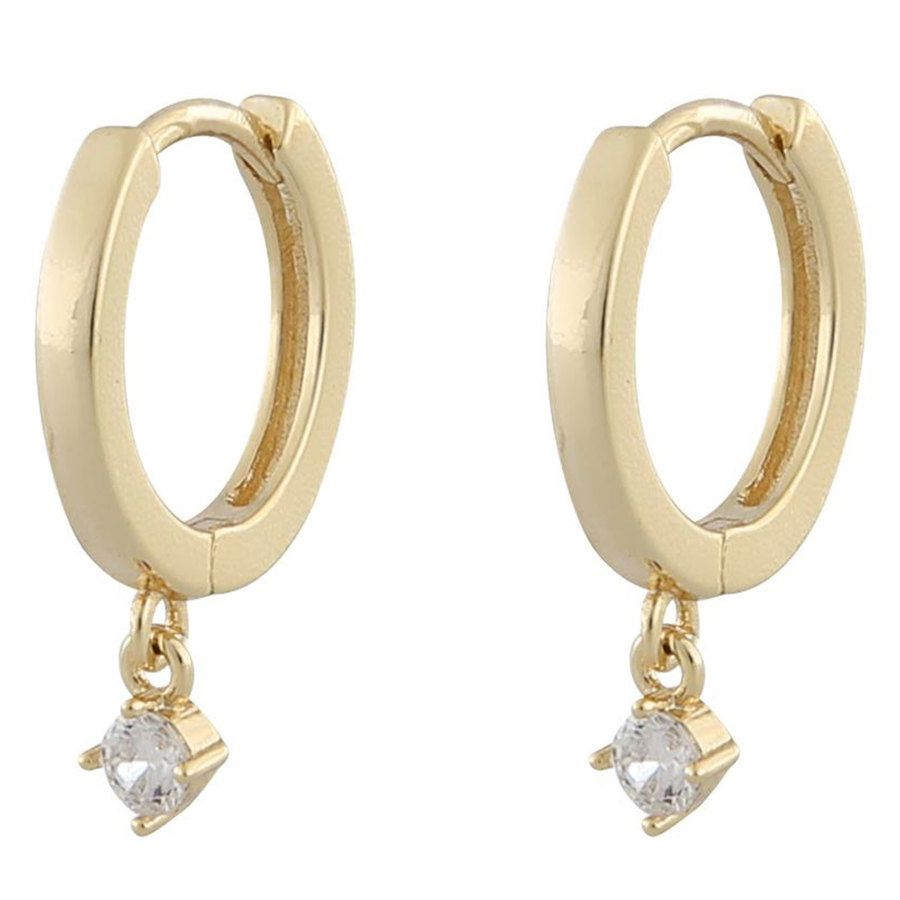 Snö Of Sweden Camille Small Ring Earring Gold/Clear 14,5mm