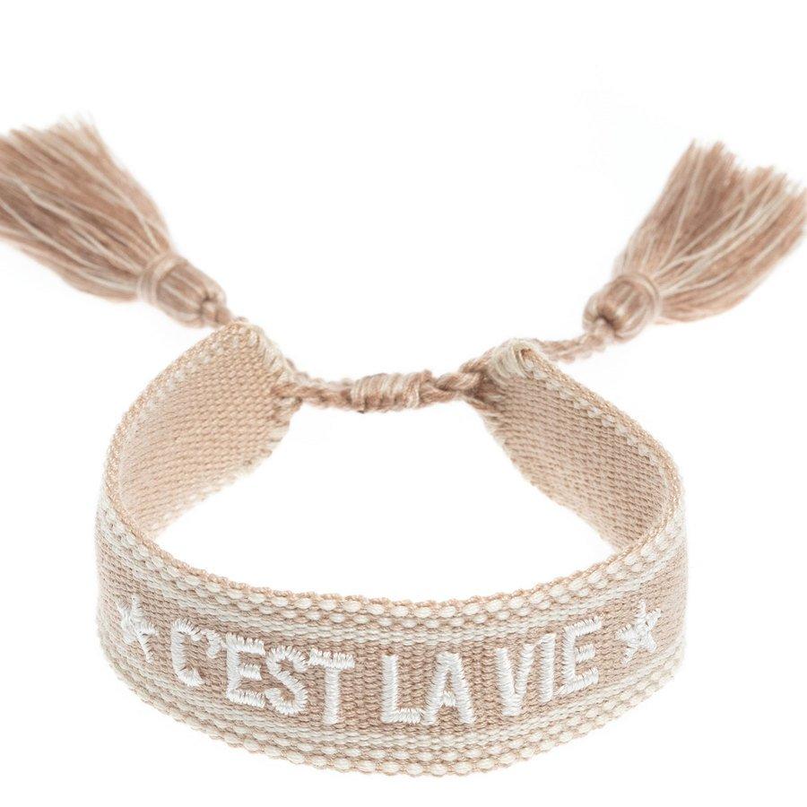 "DARK Woven Friendship Bracelet ""C'est La Vie"" Sand"