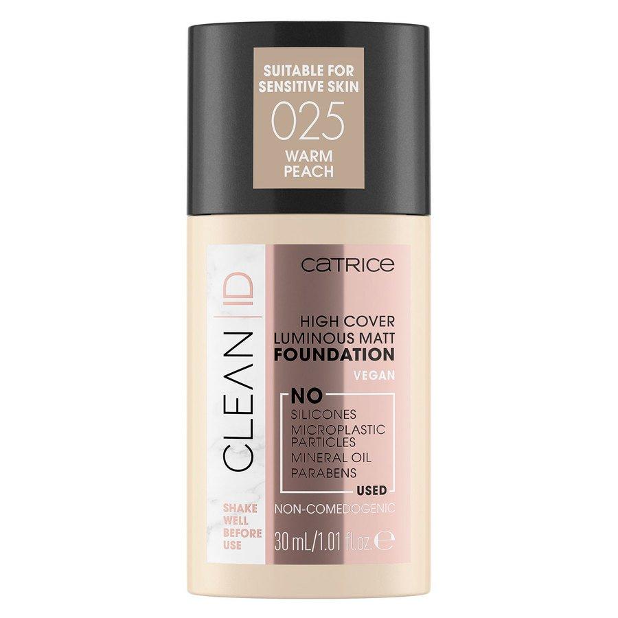 Catrice Clean ID High Cover Luminous Matt Foundation 025 Warm Peach 30ml