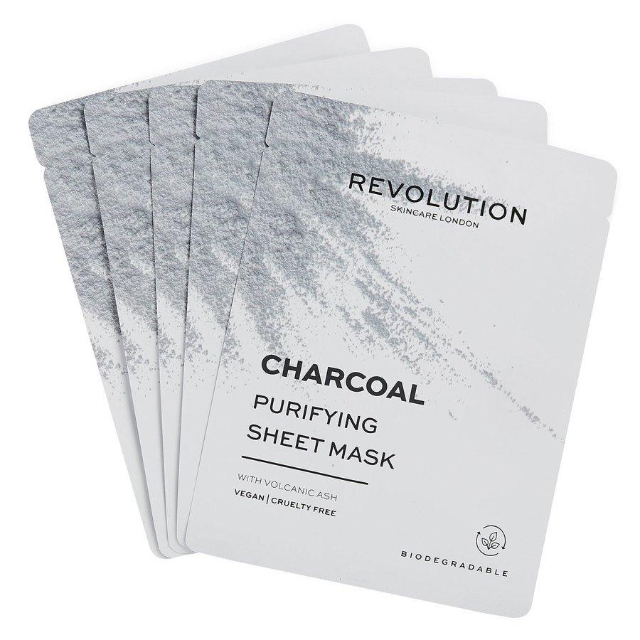 Revolution Beauty Revolution Skincare Biodegradable Purifying Charcoal Sheet Mask 5pcs