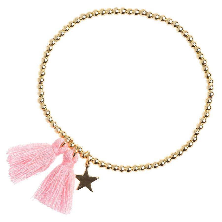 DARK Metal Bead Bracelet With Tassel Blush Rose