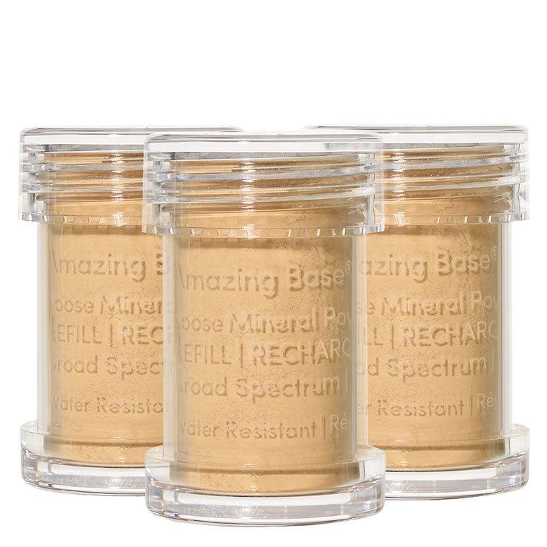 Jane Iredale Amazing Base Refillable Brush Golden Glow 3 Pack Refills