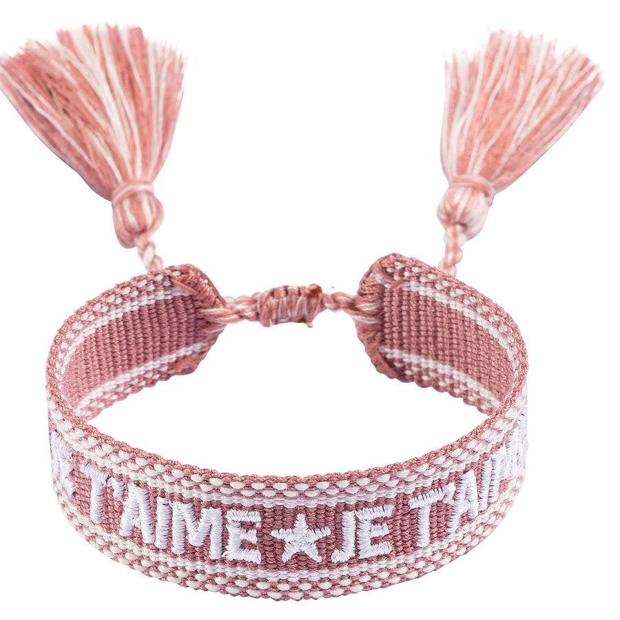 "DARK Woven Friendship Bracelet ""Je T'aime"" Dusty Rose"