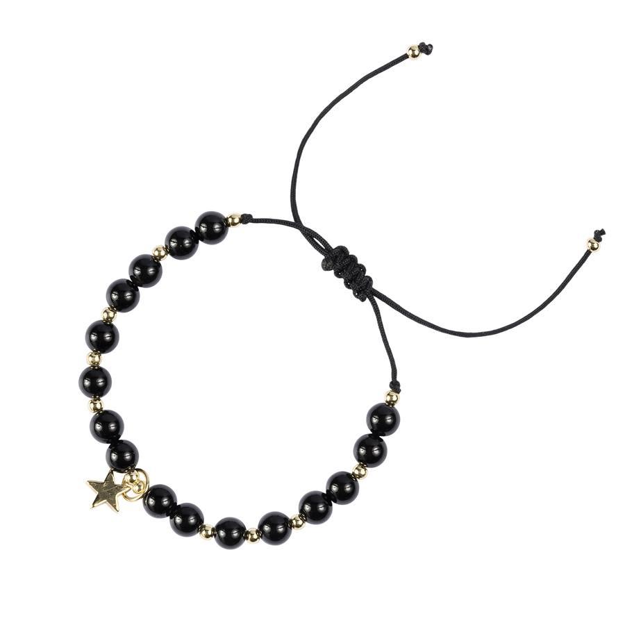 DARK Stone Bead Bracelet Shiny Black 6mm