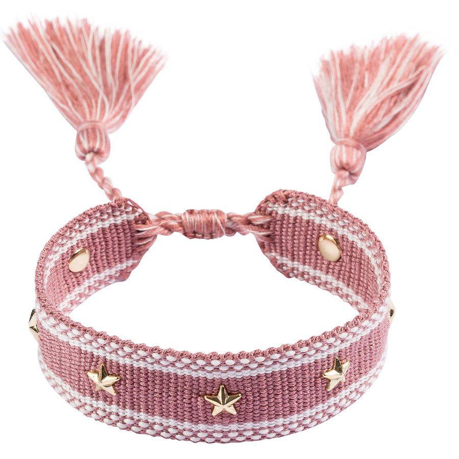 DARK Woven Friendship Bracelet With Star Stud Dusty Rose