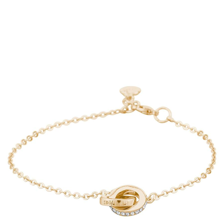 Snö Of Sweden Connected Chain Bracelet Gold/Clear 16-17cm