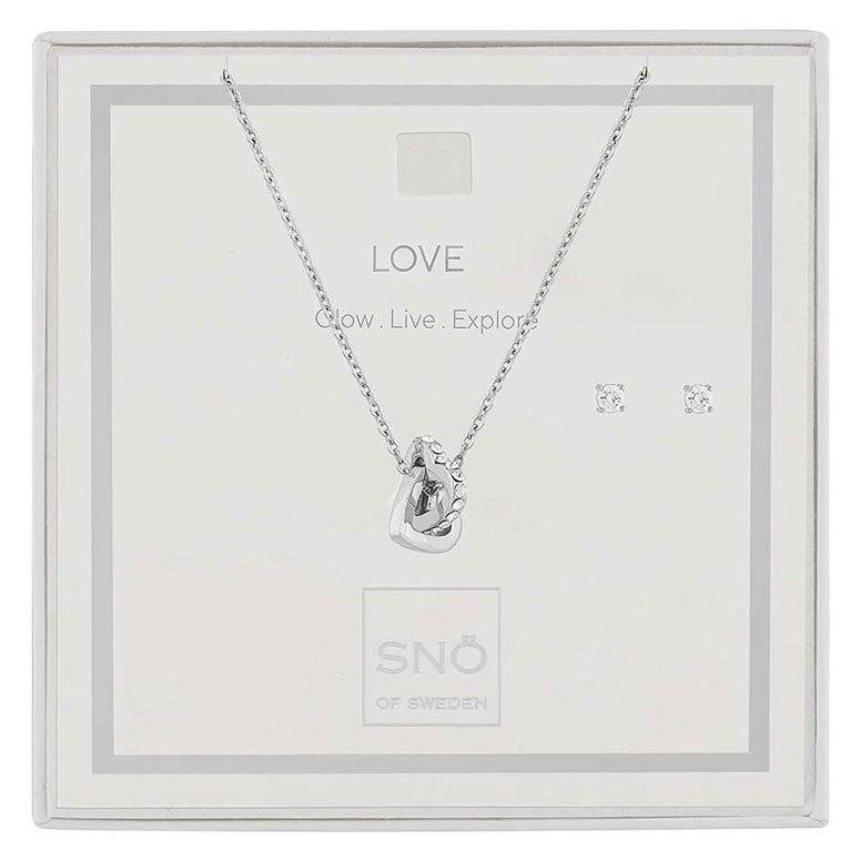 Snö Of Sweden Valentine Love Necklace Set Silver/Clear