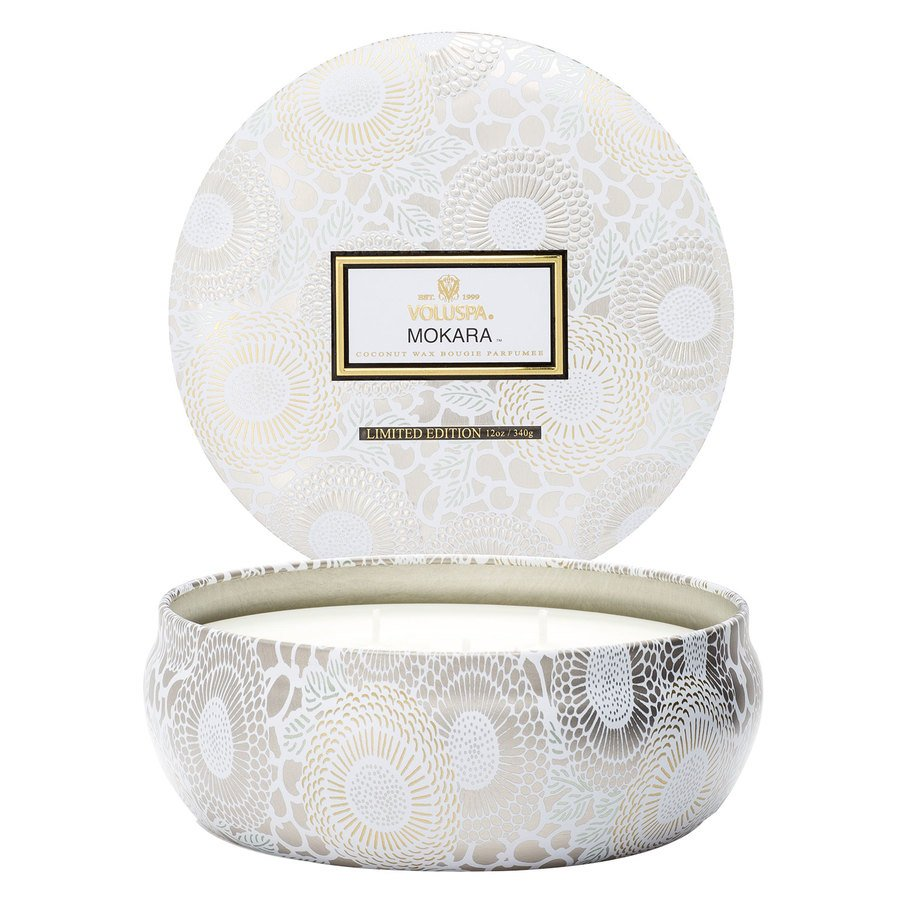Voluspa 3 Wick Candle In Decorative Tin Mokara 340g