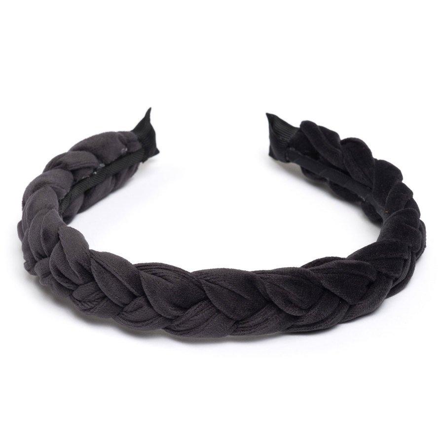 DARK Velvet Braided Hairband Charcoal