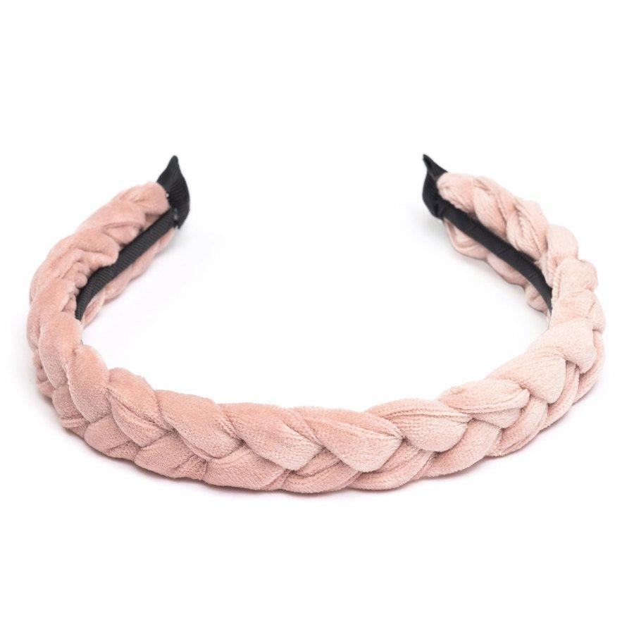 DARK Velvet Braided Hairband Pale Rose