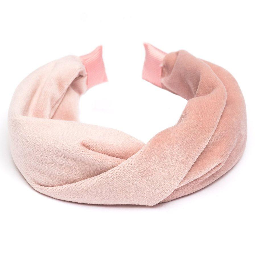 DARK Velvet Folded Hairband Pale Rose