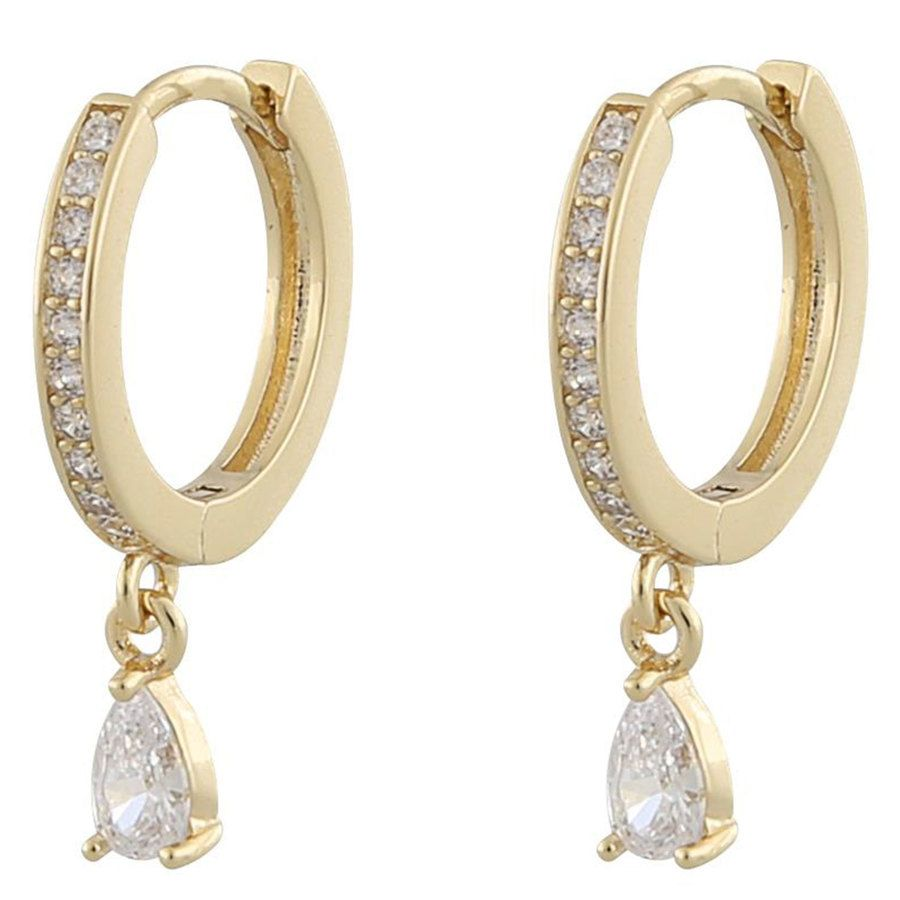 Snö Of Sweden Camille Drop Ring Earring Gold/Clear 14,5mm