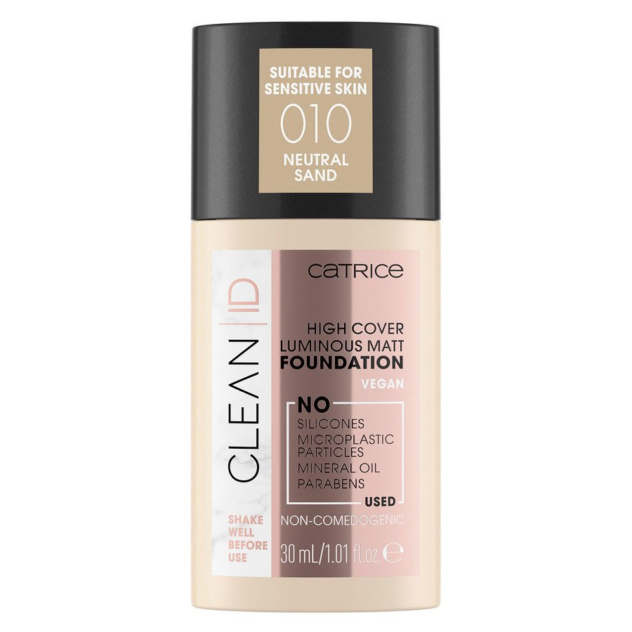 Catrice Clean ID High Cover Luminous Matt Foundation 010 Neutral Sand 30ml