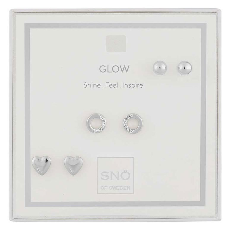 Snö Of Sweden Valentine Glow Earring Set Silver/Clear