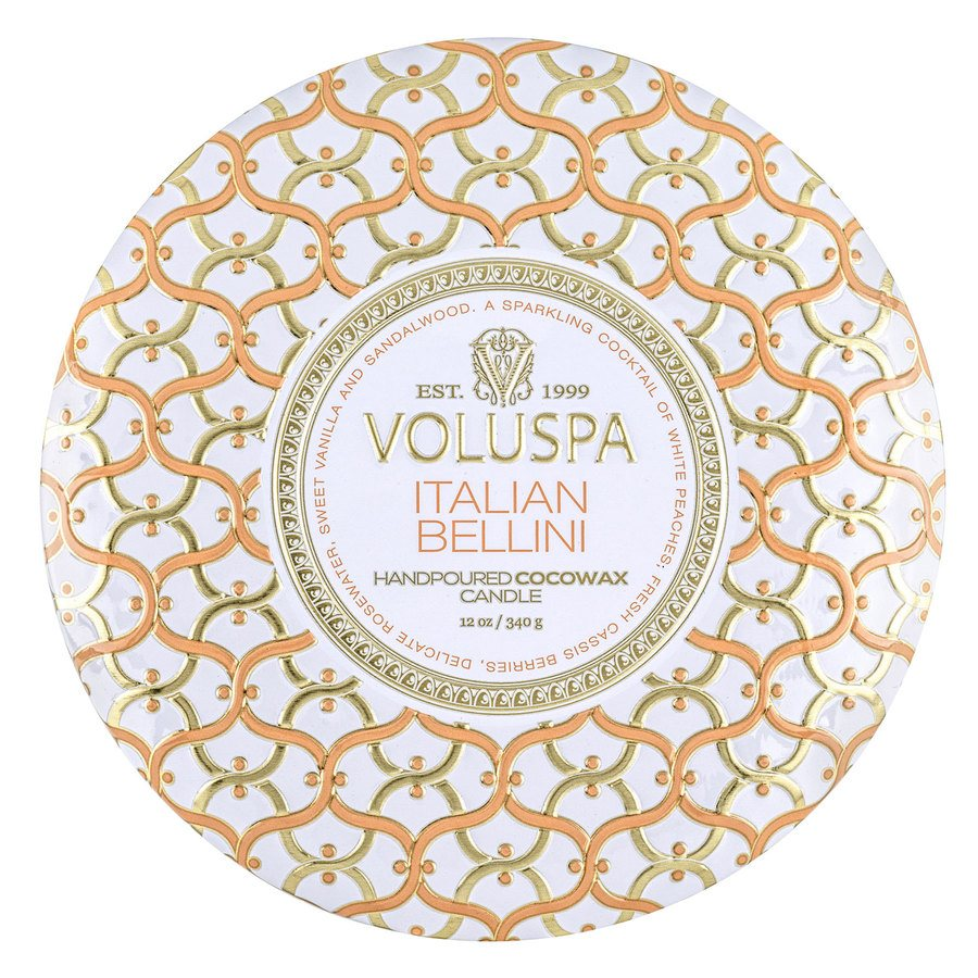 Voluspa 3-Wick Tin Candle Italian Bellini 340g